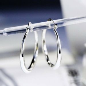 """New 18k White Gold 1.5"" Roud Hoop Earrings"""